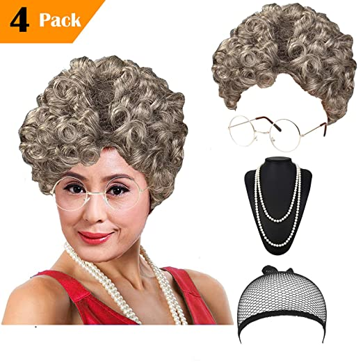 Amazon.com  Women s Cosplay Costume Old Lady Wig cda4d433a5