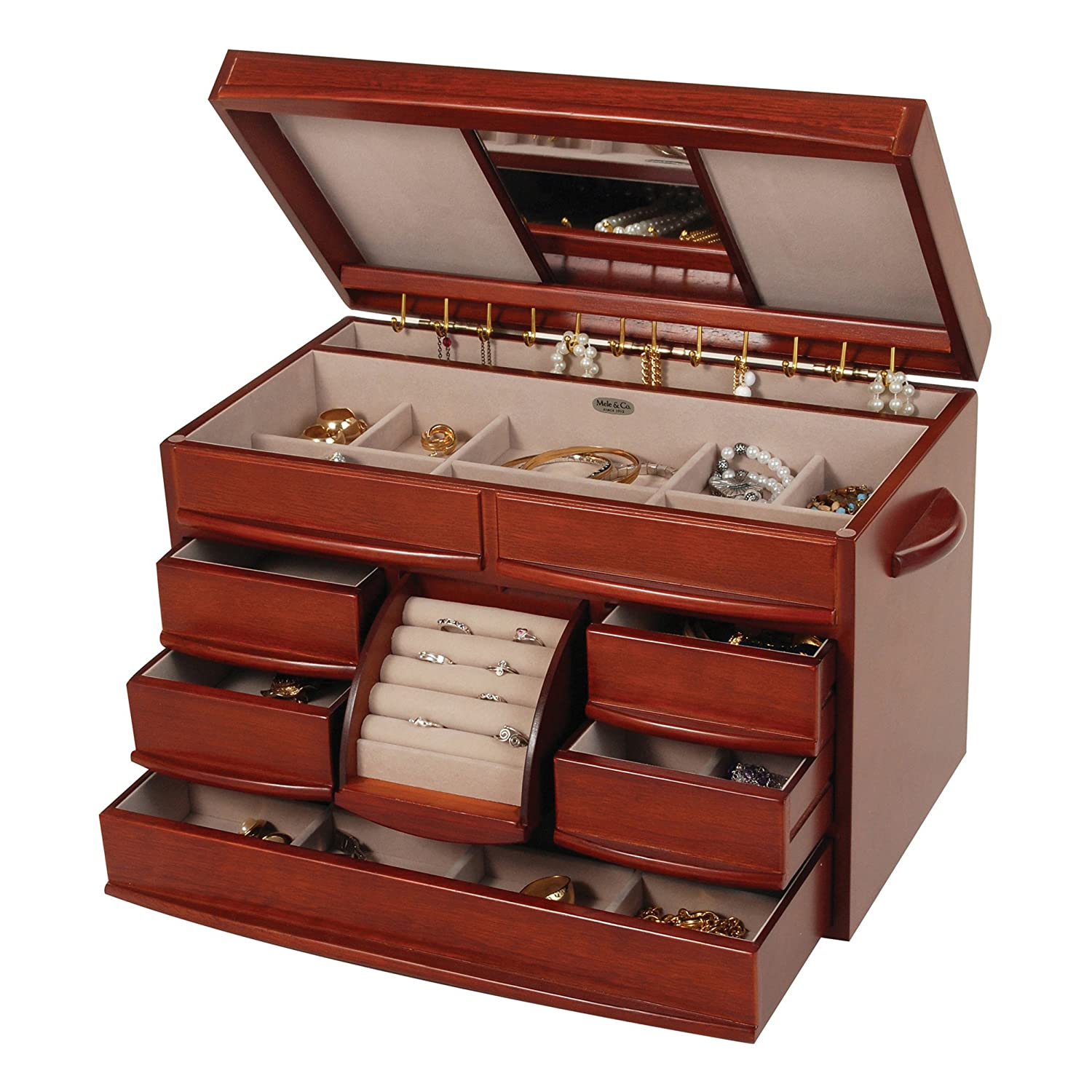 Amazon.com: Mele & Co. Empress Wooden Jewelry Box (Walnut Finish ...