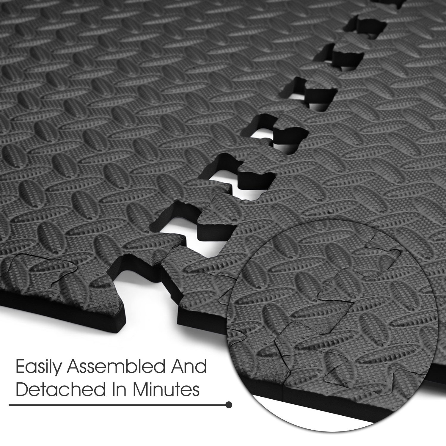 Yes4All Interlocking Exercise Foam Mats with Border – Interlocking Floor Mats for Gym Equipment – Eva Interlocking Floor Tiles (12 Square Feet, Black) by Yes4All (Image #6)
