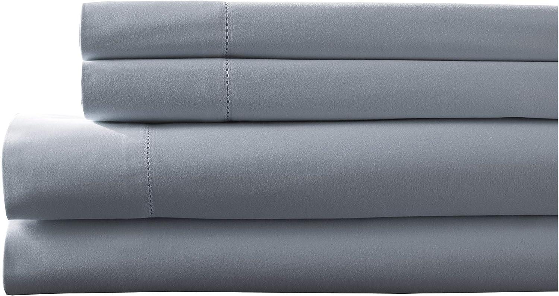 Elite Home Products Inc. Hemstitch 400 Thread Count Cotton Sateen Weave Solid Color Sheet Set, Lt. Blue, Split King