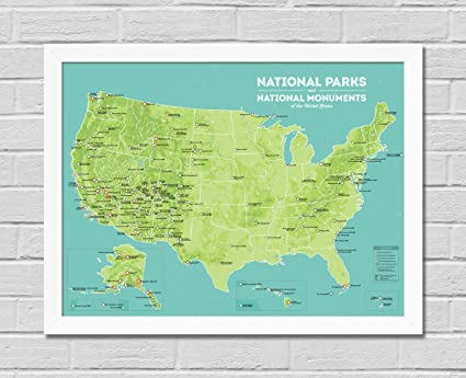 Amazon.com: Best Maps Ever US National Parks & Monuments Map Framed ...