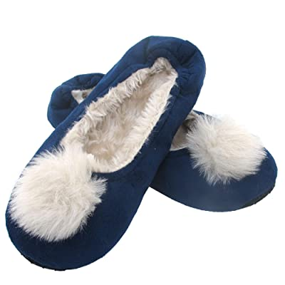 BambooMN Adult Women's Comfy Warm Fuzzy Fur Rabbit Pompom Non-Skid Home Slippers, 1 Pair, Large Blue Pompom: Home & Kitchen
