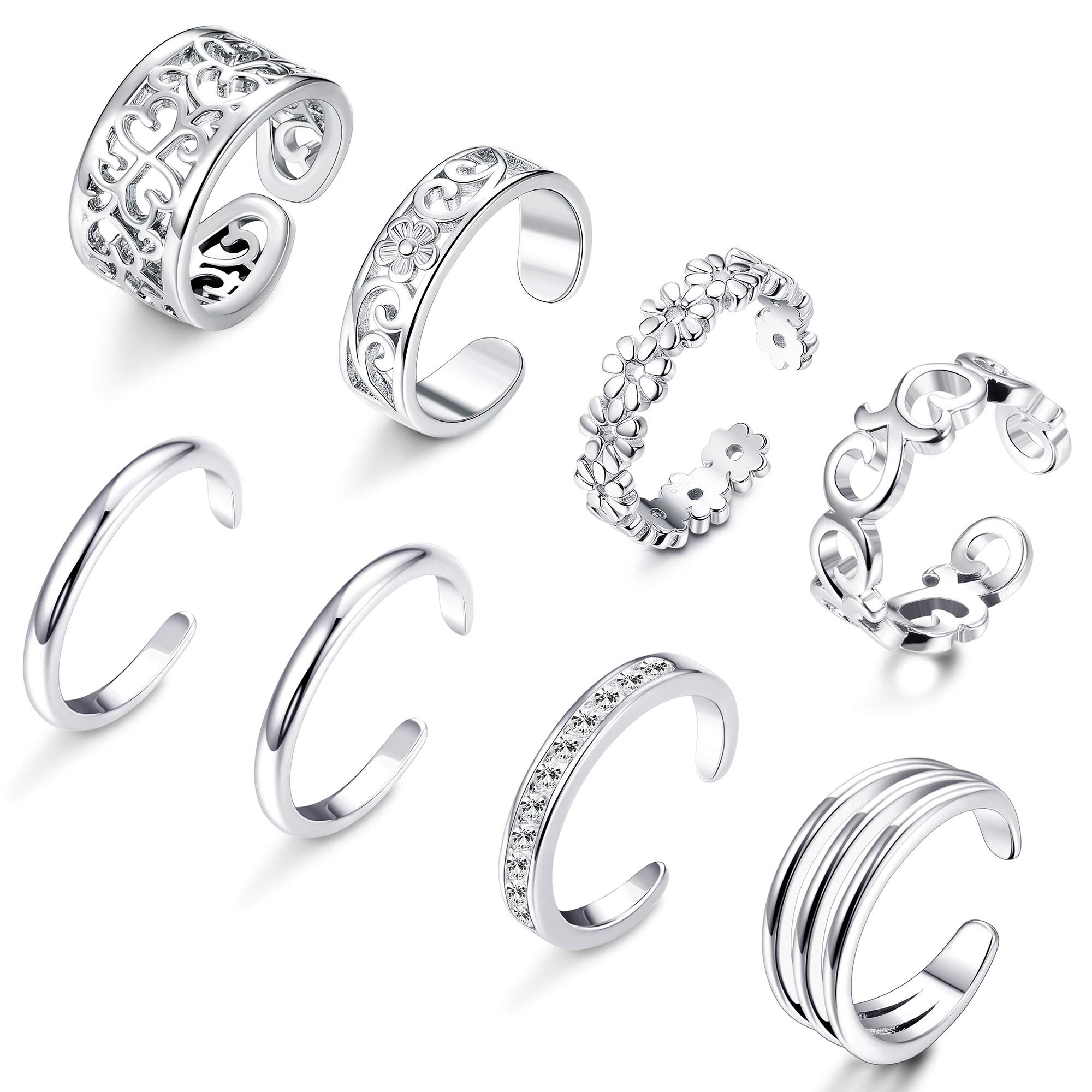 FIBO STEEL 8 Pcs Open Toe Rings for Women Girls Flower Hollow CZ Band Vintage Toe Ring Set Adjustable Silver-Tone by FIBO STEEL
