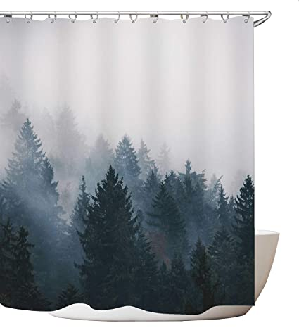 Get Orange Mountain Shower Curtain Custom Curtains Fog Pine Trees Forest Tree Unique Bath Decor