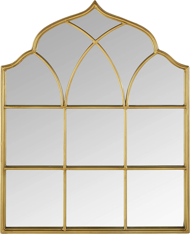 "Amazon Brand - Ravenna Home Vintage Windowpane Metal Mantel Mirror, 25""H, Gold"