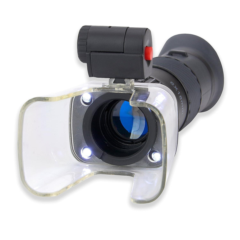 Carson MagniScope 3 en 1 Monocular de 6 x 18mm con 4 Luces LED S/úper Brillantes Microscopio de 25x y Lupa 4X