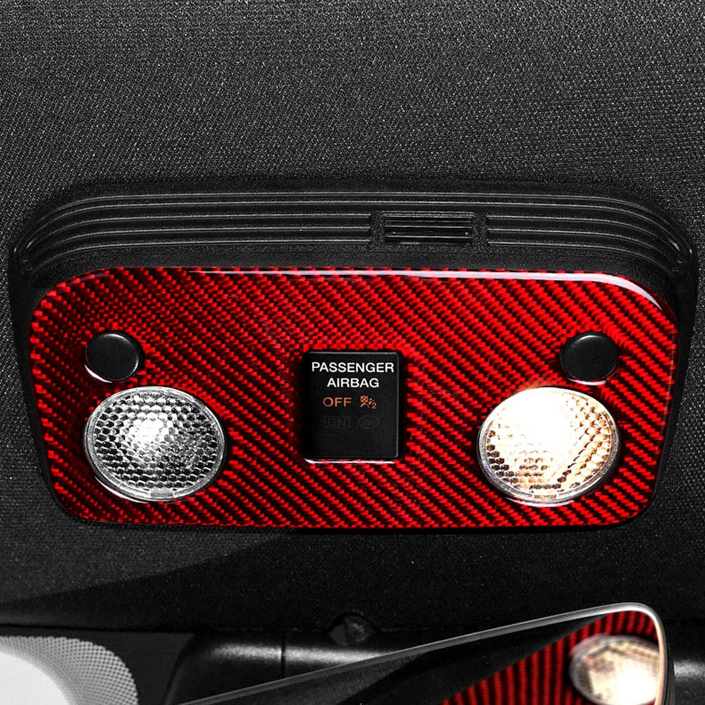 XDDXIAO Accesorios Interiores del Coche Panel de Control de luz de Lectura de Fibra de Carbono Ajuste Auto Pegatina Dise/ño de Coche para Ford Mustang 2015-2019,Rojo