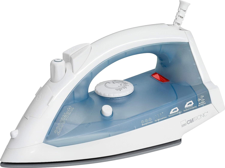 Cer/ámica Blanco//Azul 5 funciones 2200 W Clatronic DB 3485 Plancha de vapor