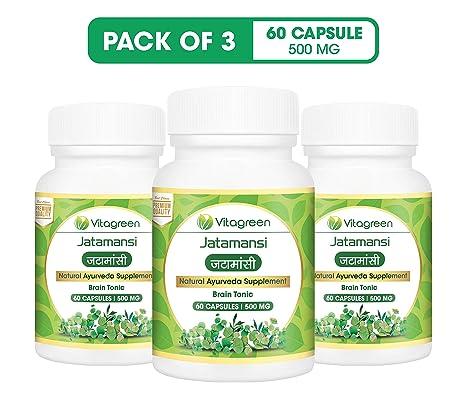 VitaGreen Herbal Jatamansi, 500 mg, 60 Capsule - Pack of 3 -Total 180  Capsules