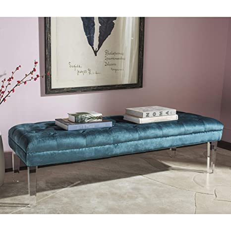 Amazon com: Transitional Entryway Bench, Blue Color, Acrylic