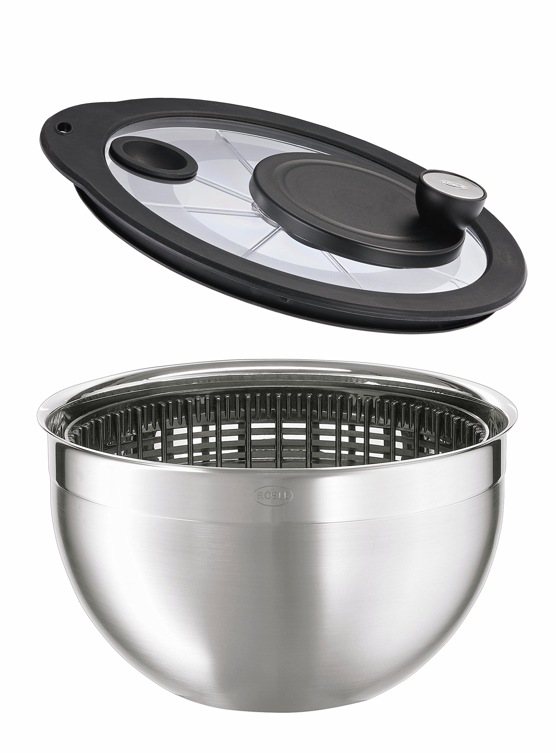 Rosle Stainless Steel 5.7 Quart Salad Spinner with Glass Lid