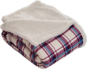 Lavish Home Throw Blanket, Fleece/Sherpa, Plaid