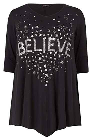 ef1c2f65bca2c Yours Clothing Women's Plus Size 'Believe' Sequin Embellished Top Size  22-24 Black