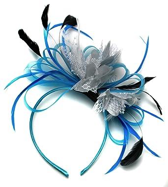 Aqua Cornflower Blue and Silver Net Hoop Feather Hair Fascinator ... f63b5f87dea