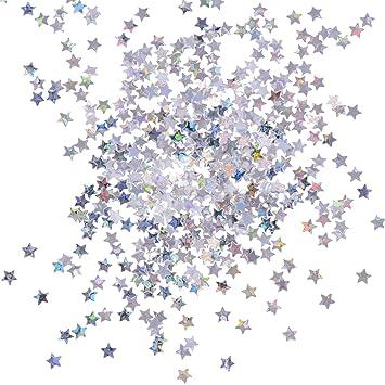 100 Gramos Confeti de Estrellas Lentejuelas de Estrellas Brillantes para Manualidades Arte de Uñas y Decoración