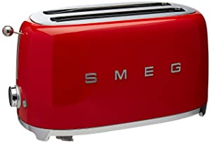 Smeg TSF02RDUS 50's Retro Style Aesthetic 4 Slice Toaster, Red