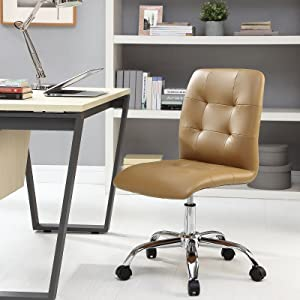Modway Prim Ribbed Armless Mid Back Swivel Conference Office Chair In Tan