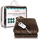 LIVIVO Heated Electric Over Blanket – Soft Chocolate Micro Fleece Throw with 10 Heat Settings and Timer Function – 160x120cm - Easy to Use Detachable Digital Control - Machine Washable (Chocolate)