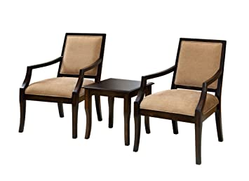 Furniture Of America Villa 3 Piece Chair And Table Set, Espresso