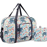 Wandf Foldable Travel Duffel Bag Carryon Luggage Sports Gym Weekend Tote Bag Water Resistant Nylon for Women