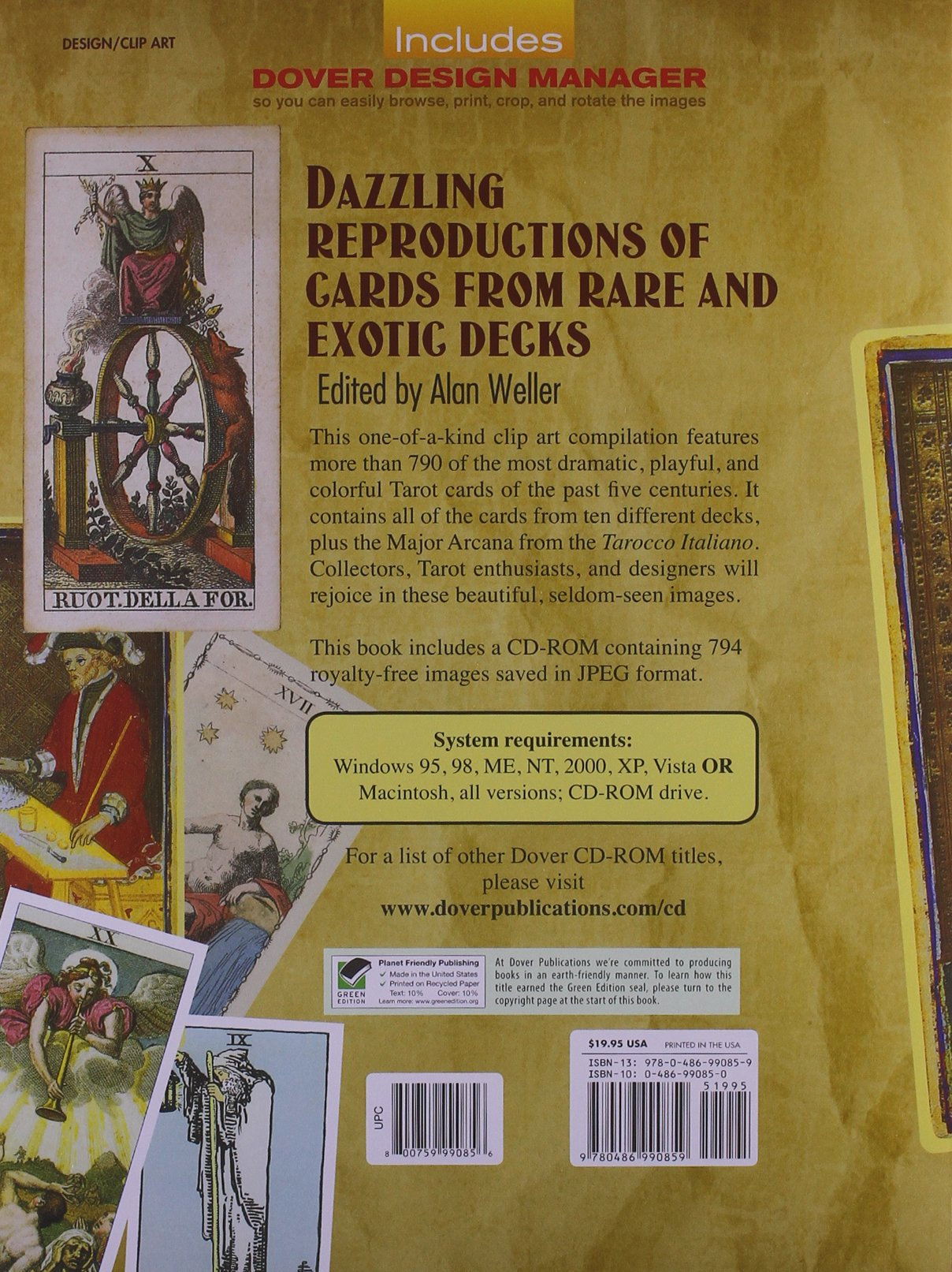the art of tarot cards cd rom and book dover electronic clip art