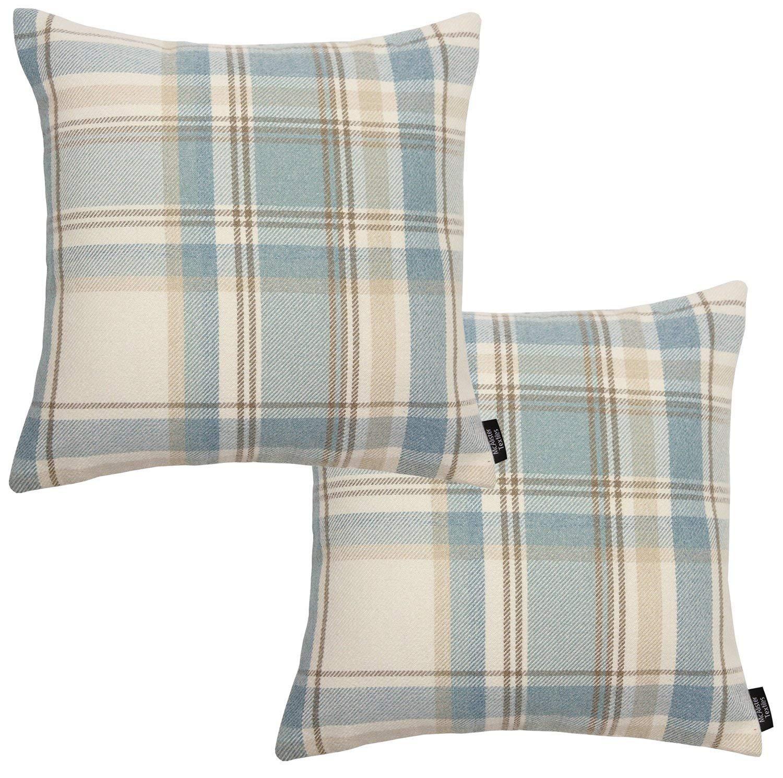 McAlister Textiles Signature Kollektion   2er Packung Heritage Zierkissen im Tartan-Muster Kariert mit Füllung 40cm x 40cm in Anthrazit   Deko Kissen für Sofa, Bett, Couch B07DDJBRJK Zierkissen