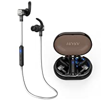 VKAKA Bluetooth Headphones Wireless IPX7 Waterproof Noise Cancelling Headsets With Charging Case