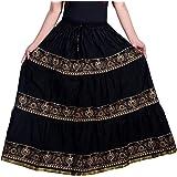 Rajasthani Jaipuri Block Print Self Design Flared Long Skirt