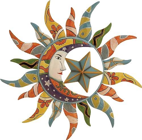 World Best Sun Moon Stars Metal Wall Hanging Garden Art 24