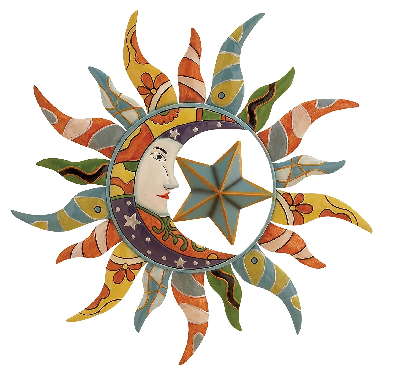 amazon com world best sun moon stars metal wall hanging garden