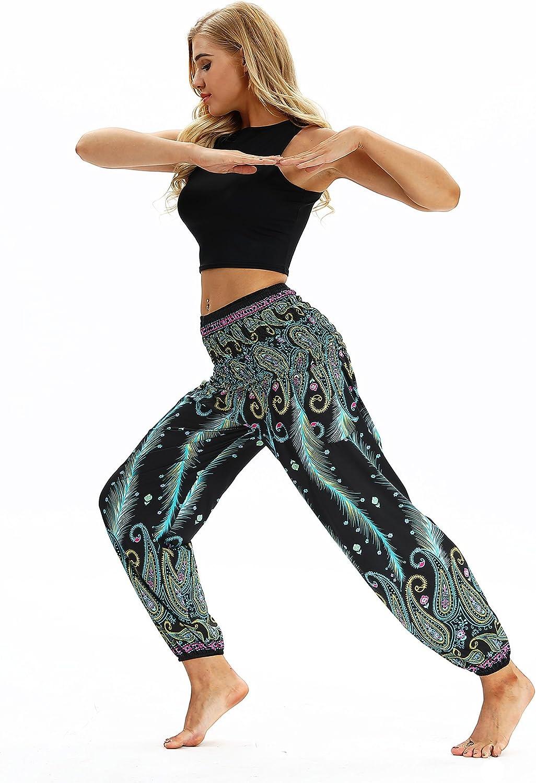 URVIP Damens Hochwertige Mode Gedruckte Hosen Ger/äupfte Taile Harem Hippie Boho Yoga Palazzo Casual Sporthose Fitnesshose Workout Stretch Leggings Bloomers One Size YCI-040