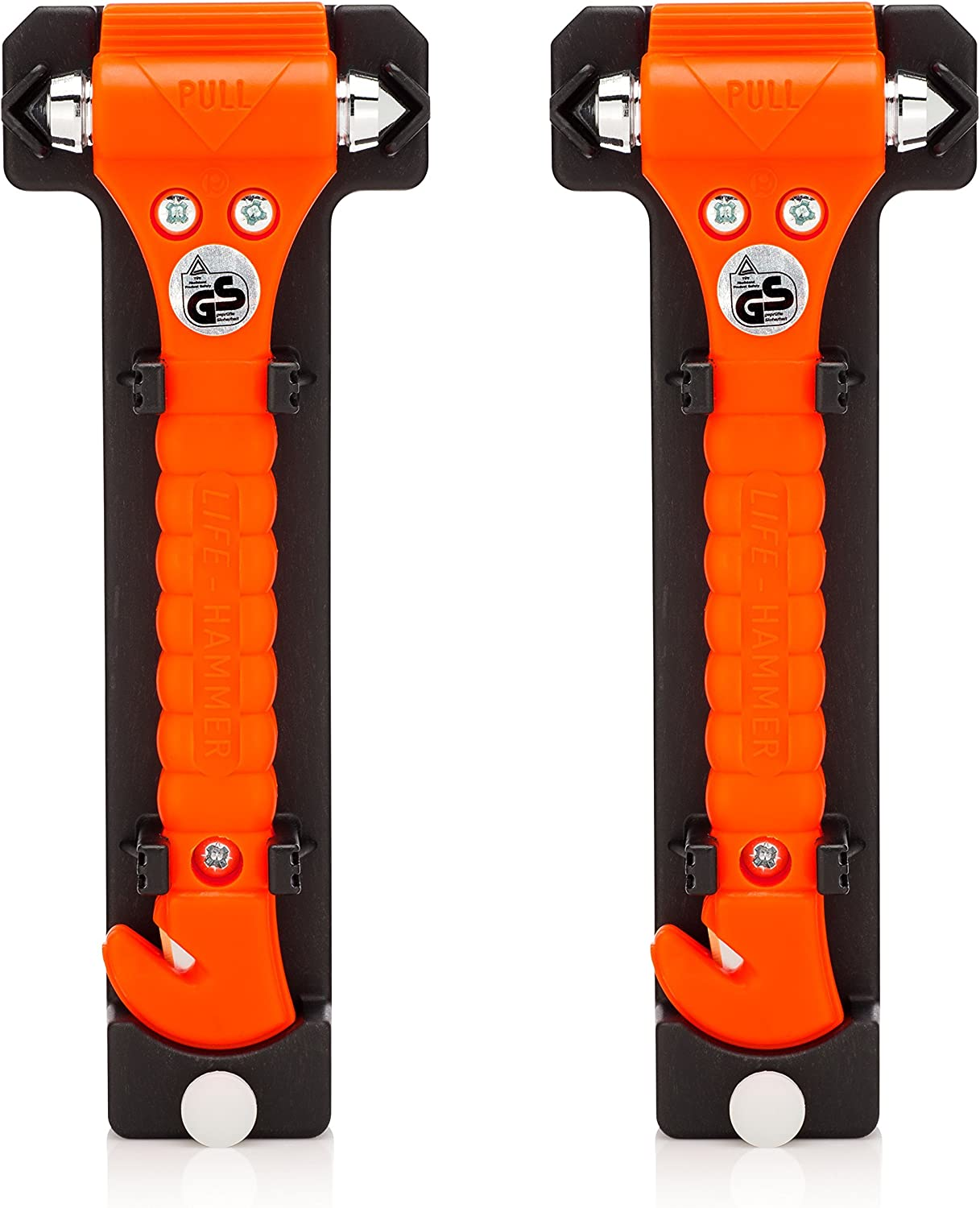 Lifehammer Brand Car Safety Hammer, The Original Emergency Escape and Rescue Tool with Seatbelt Cutter, Made in The Netherlands, Orange (2-Pack): Automotive
