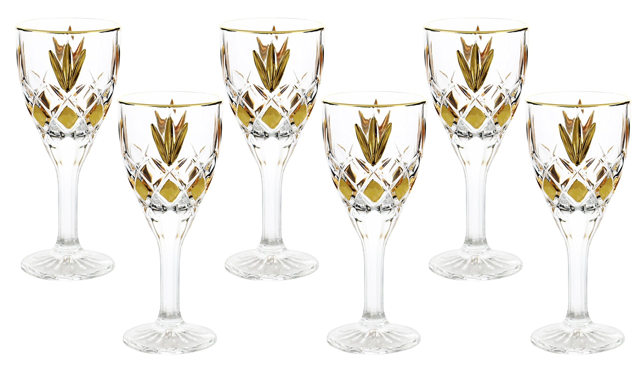Fine Crystal Clear Glass Liquor Cordial Glass 6 Piece Gift Set