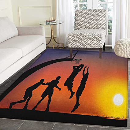 Amazon Com Teen Room Non Slip Rugs Boys Playing Basketball At