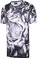 (ピゾフ)Pizoff メンズ Tシャツ 夏服 半袖 総柄 プリント おしゃれ 快適 カジュアル トップス ロングTシャツ