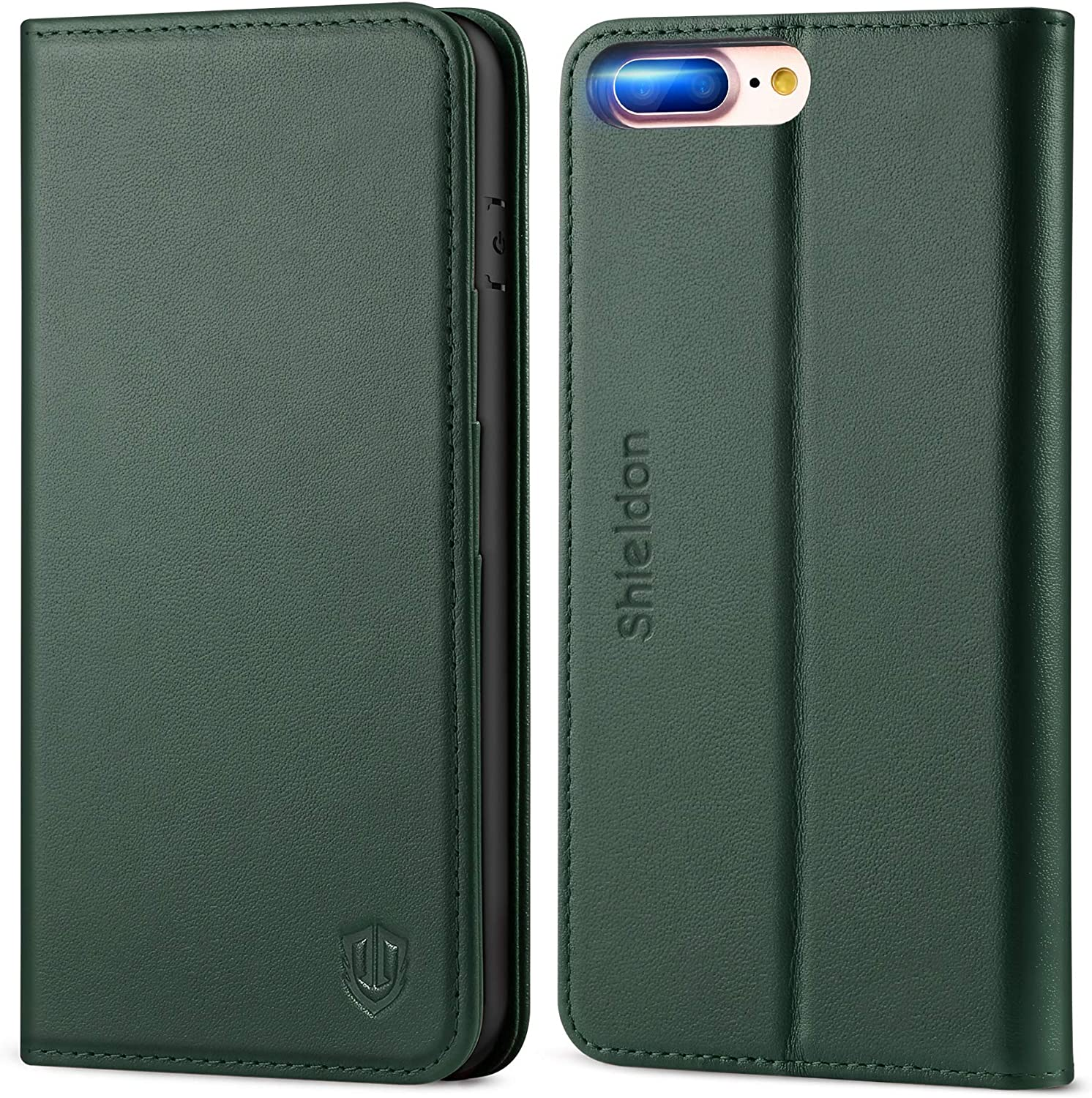 SHIELDON iPhone 8 Plus Case, iPhone 8 Plus Wallet Case, Genuine Leather iPhone 7 Plus Flip Magnetic Cover Card Slots Kickstand Shockproof Case Compatible with iPhone 8 Plus (5.5