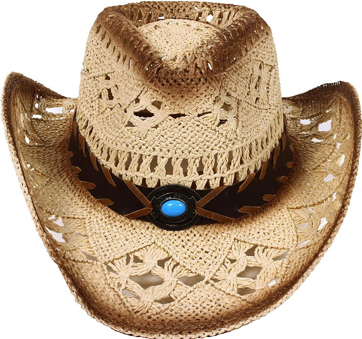 AbbyLexi Men & Women's Western PU Leather Band Cowgirl Cowboy Straw Hat