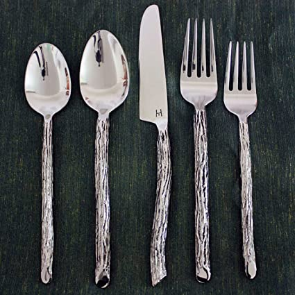 Good Bark Flatware 5 PC Setting X 4 Place Sets Hand Made Eco Friendly Stainless  Steel