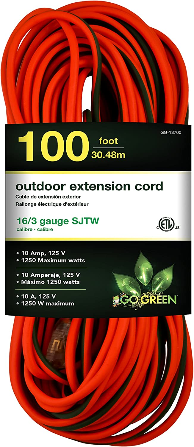 GoGreen Power GG-13700 - 16/3 100' SJTW Outdoor Extension Cord - Lighted End
