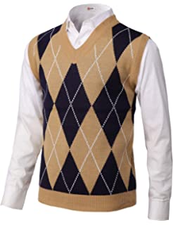 49c4b81c1e37 Enzo Mantovani - Argyle Italian Made Men s Fine Gauge Merino V-Neck ...