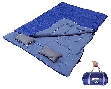 Outdoorsman Lab - Saco de Dormir Doble (47/38F) con 2 Almohadas y