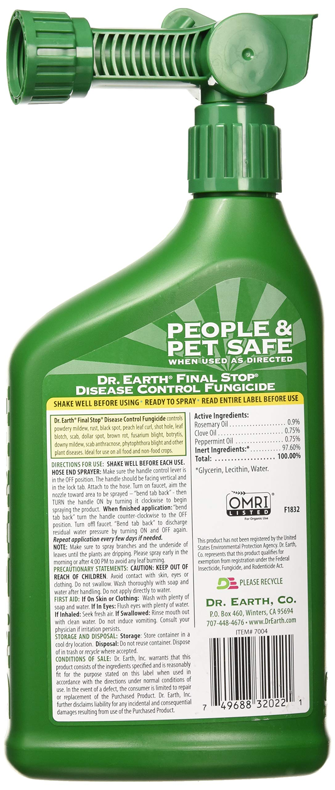 Dr. Earth 7004 Concentrate 3 Controls Organic Fungicide Hose End, 32-Ounce by Dr. Earth (Image #2)