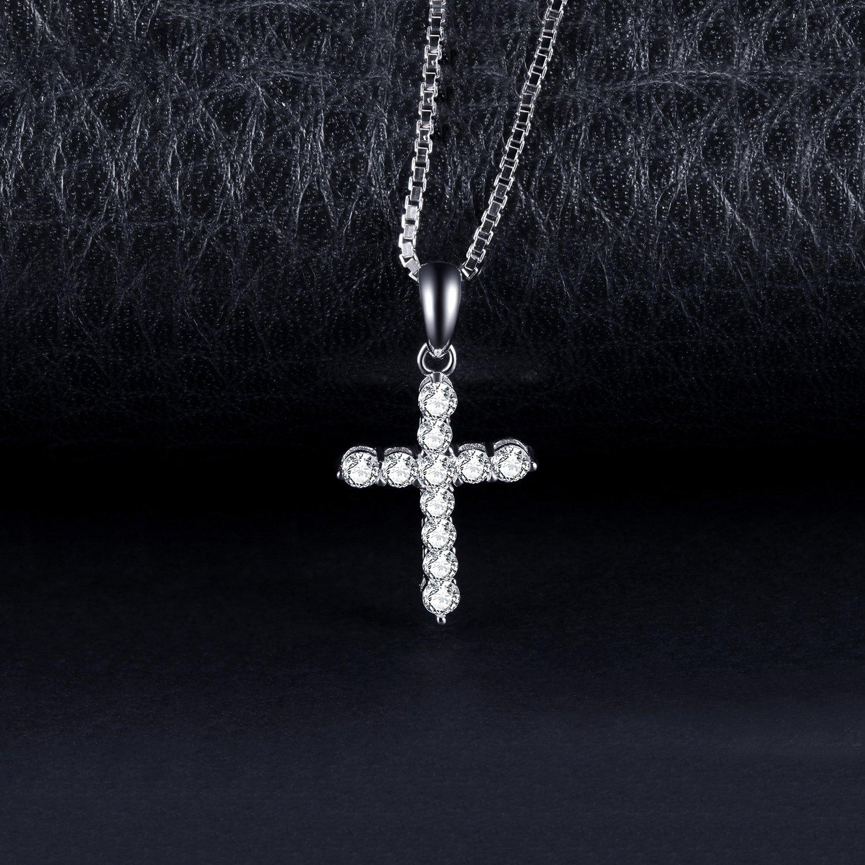 JewelryPalace 0.7ct Zircone Cubique Croix Collier Pendentif en Argent 925 Sterling Silver 45CM
