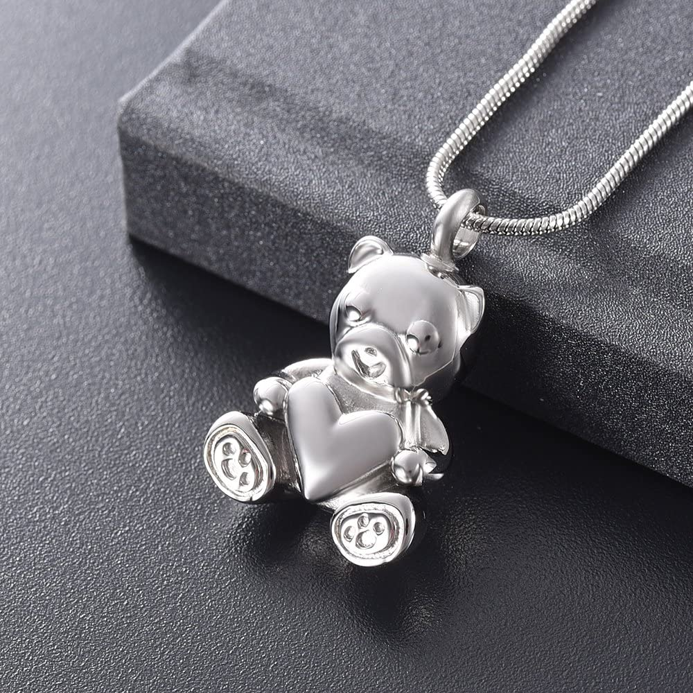 zeqingjw Cute Bear Cremation Jewelry for Ashes Heart Keepsake Ashes Necklace for Human Pet Memorial Urn Pendant Jewelry