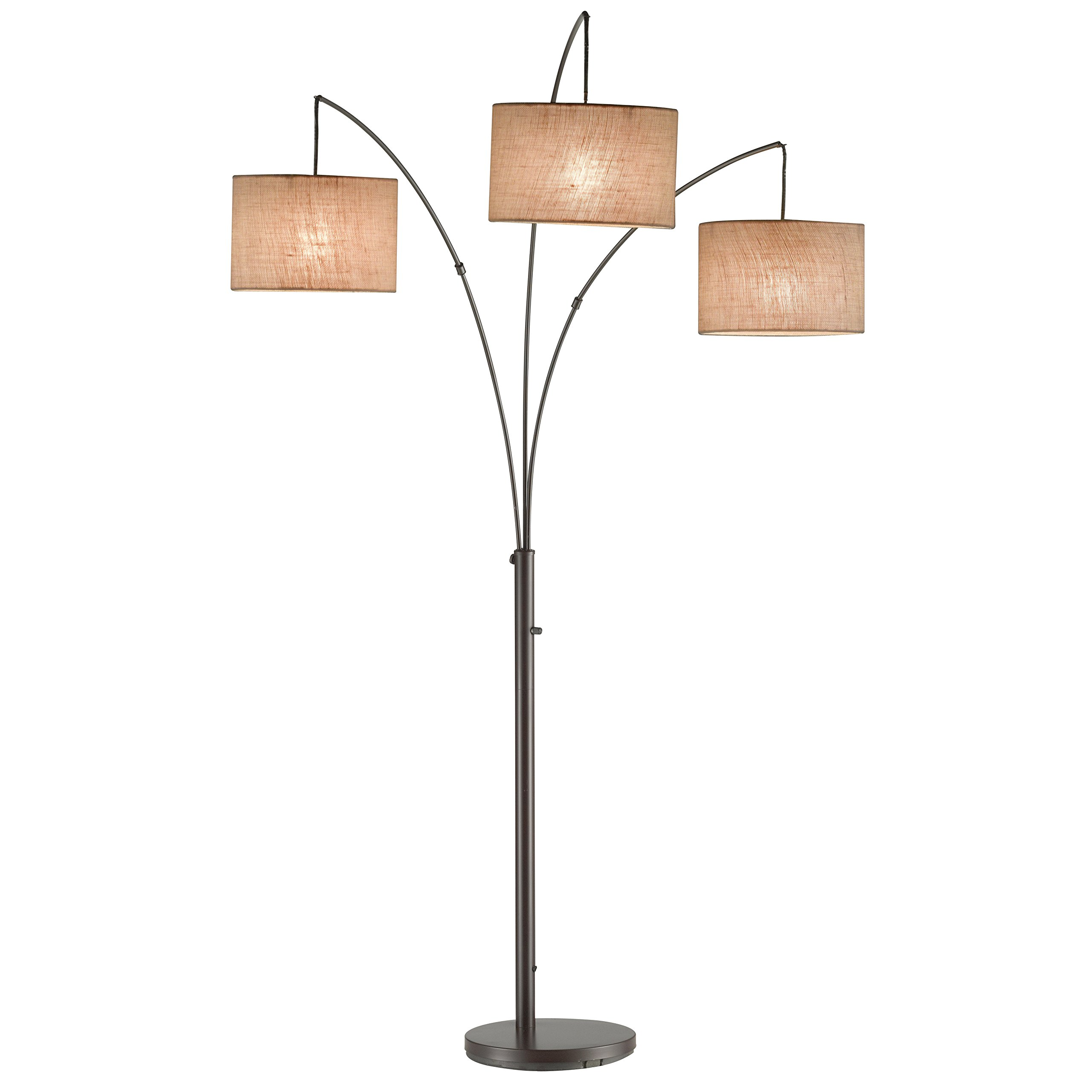 74 Inch Tall Modern Arc Floor Lamp with 3 Fabric Drum Shade - Antique Bronze Finish
