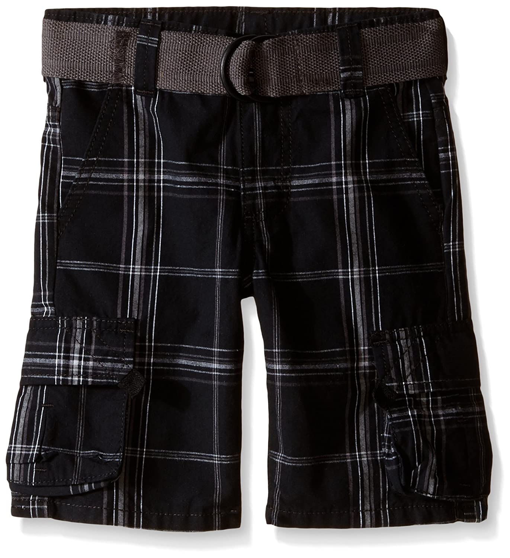 Wrangler Authentics Boys' Fashion Cargo Shorts Black Plaid 14H ZB4SH1N
