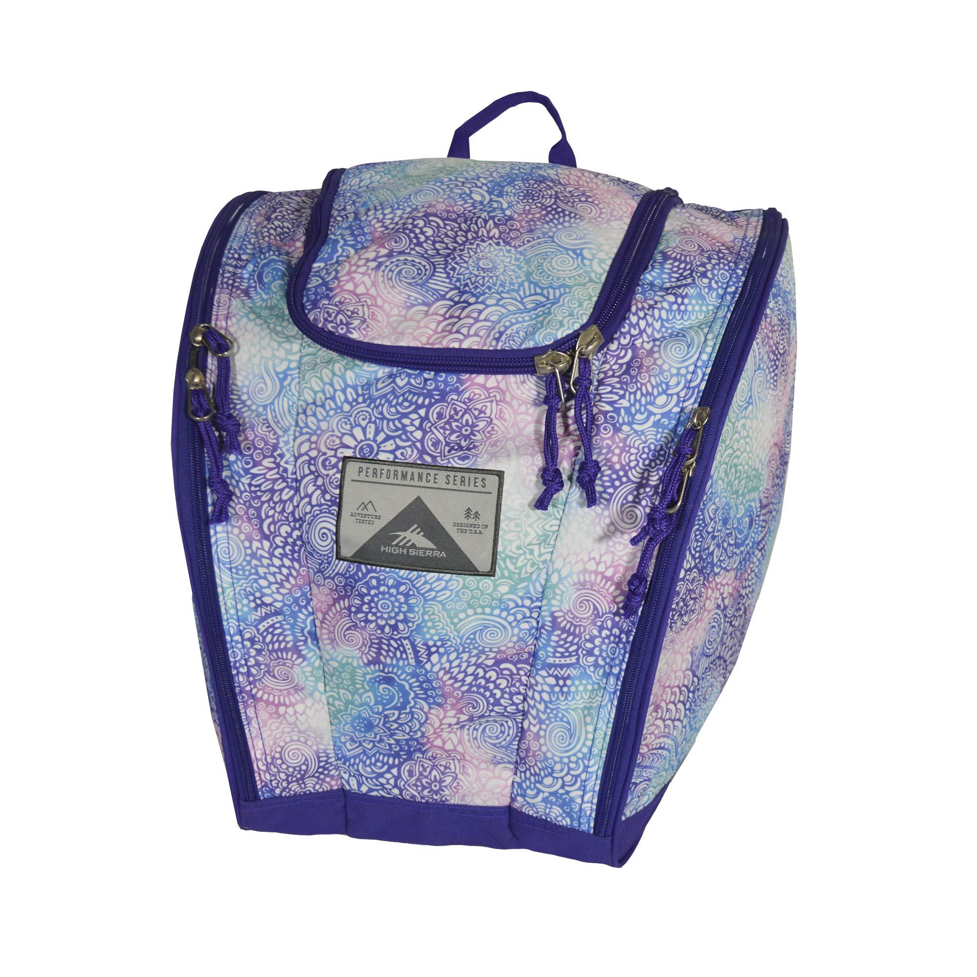 High Sierra Ski Boot Trapezoid Boot Bag, Flower Daze/Deep Purple