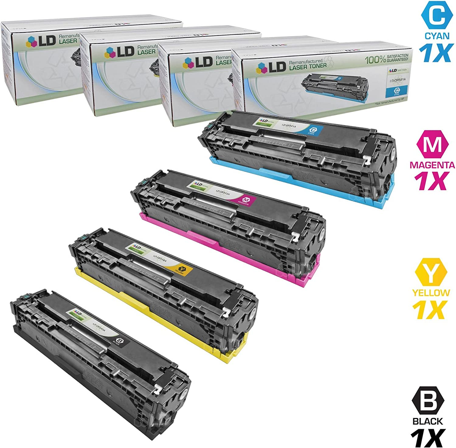 LD Remanufactured Toner Cartridge Replacement for HP 125A (Black, Cyan, Magenta, Yellow, 4-Pack)