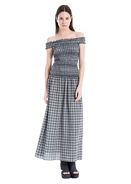 choose best where can i buy best Max Studio Off-The-Shoulder Plaid Maxi Dress at Amazon ...