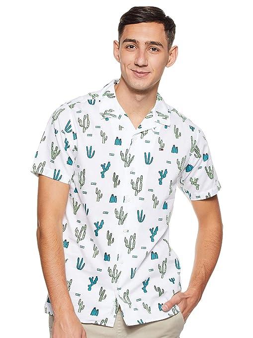 Tommy Hilfiger Summer Print Camp Camisa, Blanco (Cactus Aop/Classic White 901), Large para Hombre: Amazon.es: Ropa y accesorios